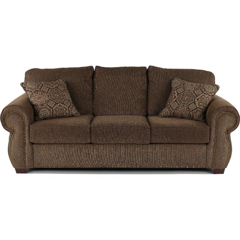 Casual Traditional Coffee Brown Sofa Southport