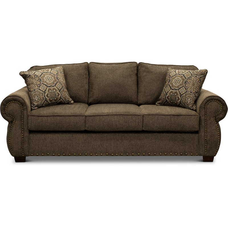 Casual Traditional Coffee Brown Sofa Bed Southport