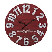 36 Inch Distressed Red Wall Clock with Metal Numerals