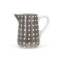 8 Inch Gray and White Polka Dot Hand-Painted Small Pitcher