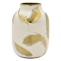 7 Inch White Porcelain Vase with Gold Feathers