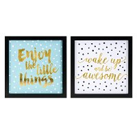 Assorted Multi Color Positive Saying Framed Wall Decor