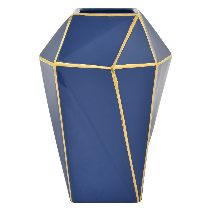 The gold detailing contrasted on a blue background gives this vase from RC Willey a modern vibe. This stylish accessory will perfectly complement an end or entryway table.