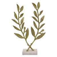 Gold Metal Leaves on White Marble Base Sculpture