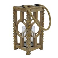 13 Inch Wooden Lantern with Rope Hanger and Glass Cylinder