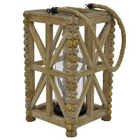 14 Inch Wooden Lantern with Rope Handle and Glass Cylinder