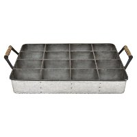 Galvanized Storage Tray with Handles and Dividers