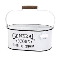 White Iron General Store Bottle Caddy with Handle