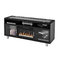 72 Inch Black Fireplace Media TV Stand - Madie
