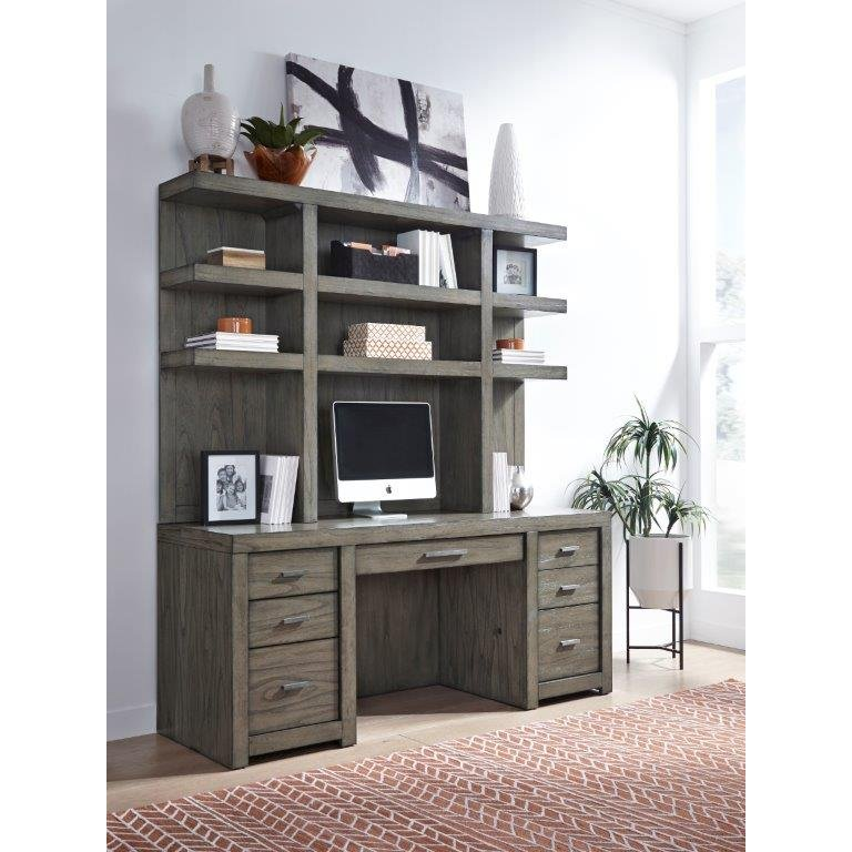 Greystone Modern Office Credenza and Hutch - Modern Loft