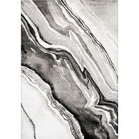 8 x 11 Large Wood Grain Gray, White and Black Area Rug - Platinum
