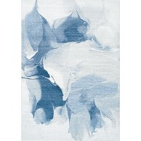 8 x 11 Large Drapery Shapes White and Blue Rug - Platinum