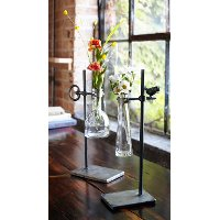 Assorted Glass Vase with Metal Stand