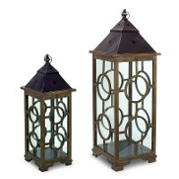 26 Inch Wood and Metal Lantern