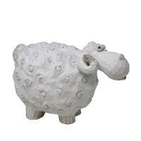 Distressed White Carved Sheep Sculpture