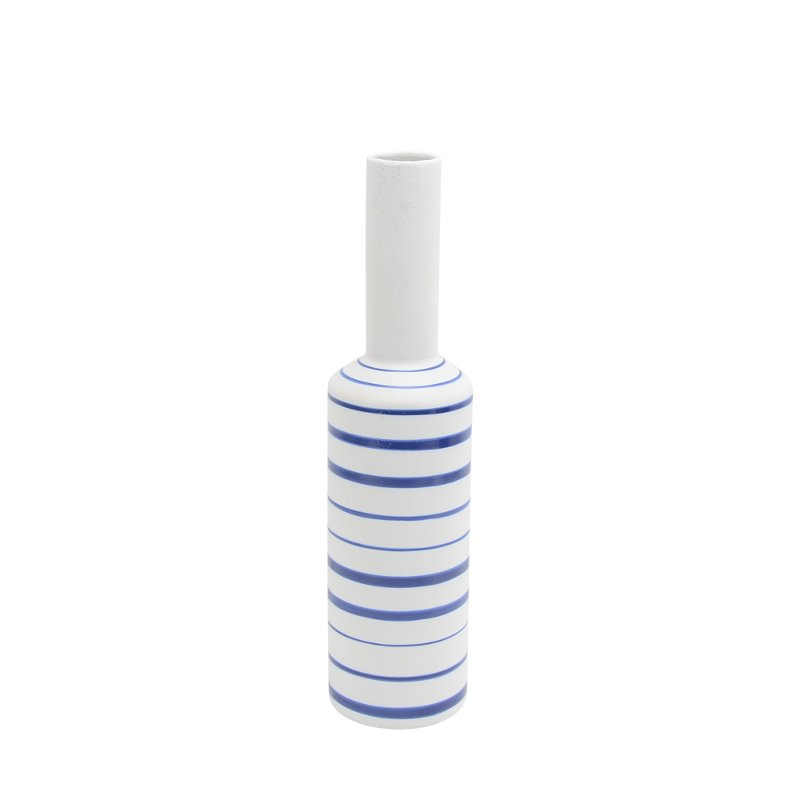 18 inch white vase with blue stripes rcwilley image1~800
