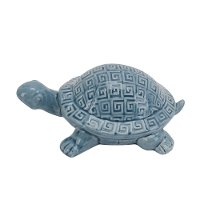 Blue Ceramic Turtle Figurine