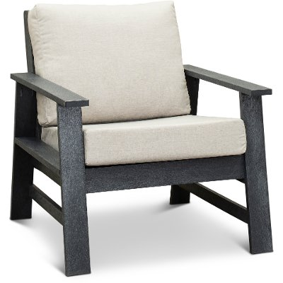 Dark Silver and Linen Outdoor Patio Chair - Shelburne
