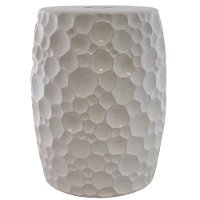 18 Inch White Ceramic Stool