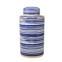 16 Inch White, Blue and Gold Striped Ceramic Lidded Jar