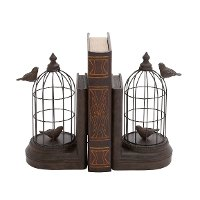 Metal Birdcage Bookend Pair With Birds