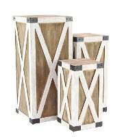 18 Inch White and Brown Wood and Metal Pedestal