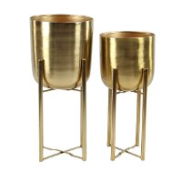 19 Inch Gold Metal Floor Planter
