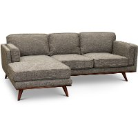 Modern Gray Sectional Sofa with RAF Loveseat - Camden