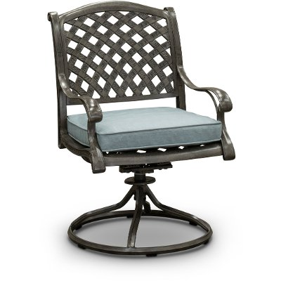 Gray Metal Swivel Rocking Patio Chair - Macan