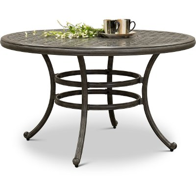 Gray Metal Round Patio Table - Macan