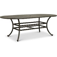 Oval Gray Metal Patio Dining Table - Macan