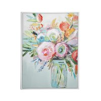 Multi Color Floral Canvas Wall Art In Wood Frame
