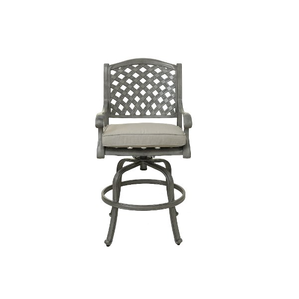 Gray And Blue Patio Swivel Stool Macan