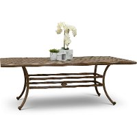 Traditional Light Brown Patio Dining Table - Castle Rock