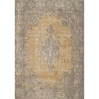 5 x 8 Medium Distressed Yellow and Gray Area Rug - Cathedral