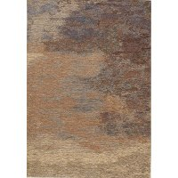 5 x 8 Medium Distressed Beige and Red Area Rug - Cathedral