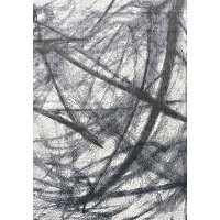 6 x 8 Medium Pastel Scribbles Black and Gray Area Rug - Antika