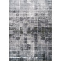 7 x 10 Large Distressed Squares Gray and Black Area Rug - Antika