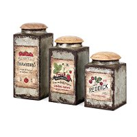 6 Inch Iron Berry Patch Canister with Wood Lid