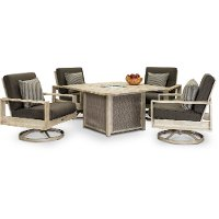 White Birch Swivel Chair Fire Pit Chat Set - Frisco