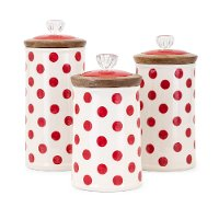 9 Inch White Lidded Canister with Red Polka Dots - Berry Patch