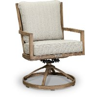 Light Brown Patio Swivel Dining Chair - Trevi