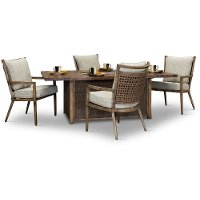 Light Brown Patio Fire Pit Dining Set - Trevi