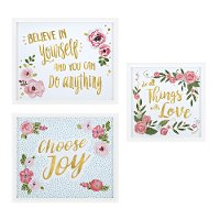 17 Inch Floral and Gold Foil Inspirational Wall Decor