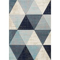 5 x 8 Medium Distressed Triangles Gray and Blue Rug - Freemont