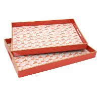 18 Inch Salmon Flamingo Tray with Cut Out Handles