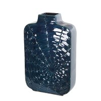 16 Inch Tall Blue Ceramic Vase with Web Design