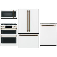 KIT Cafe 4 Piece Kitchen Appliance Package with Gas Range - White
