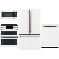 KIT Cafe 4 Piece Kitchen Appliance Package with Electric Range - White