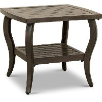Brown Aluminum Slat Top Patio End Table - Riviera